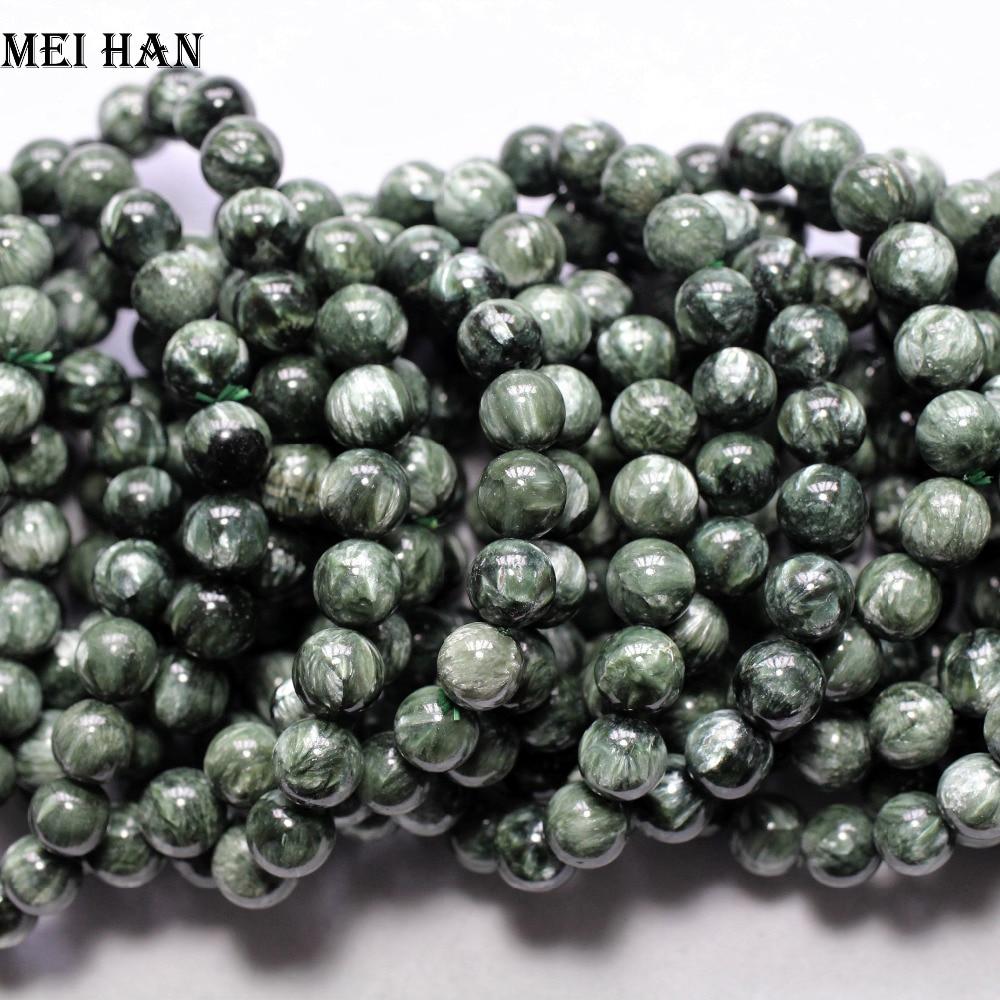 Envío gratis (1 pulsera/juego) 9,8-10,8mm A + Piedra de seraphinita rusa preciosa natural cuentas sueltas para fabricación de joyería diy