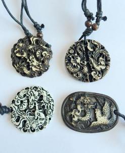 30 PCS Vintage Personality tibet bone powder Amulet Chinese Dragon Phoenix Necklace