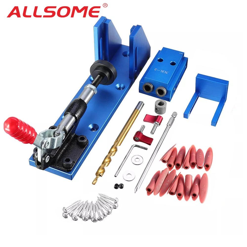 ALLSOME Aluminum Pocket Hole Jig Kit Wood Hole Saw 9.5mm Step Drill Bits 150mm PH2 Screwdriver Bit with Pocket Plugs Screws