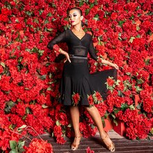 Sexy danse latine Robe femmes noir Latin Performance Robe Salsa Robe danse latine/Cha Cha/Rumba/Samba/Paso Doble Robe DQS1381