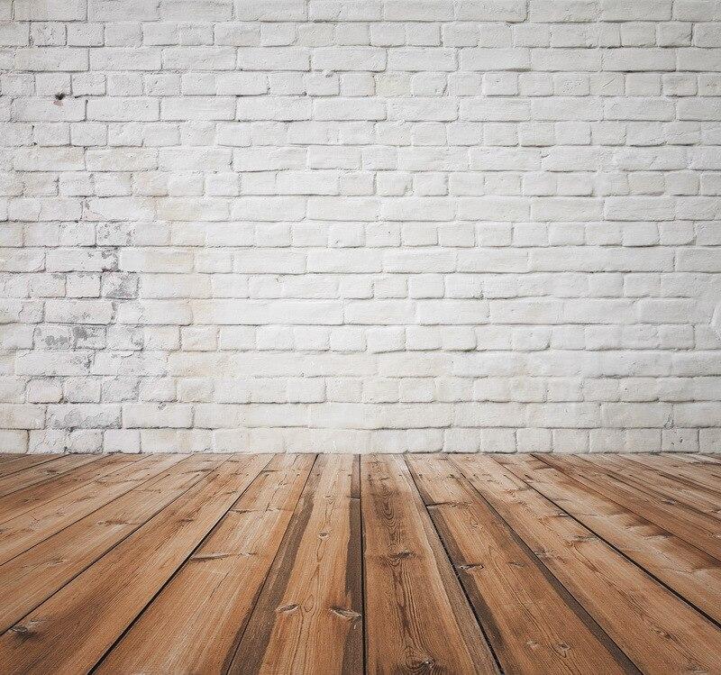 8x12 pies Vintage ladrillos blancos pared suelo de madera duro estudio de fotografía personalizado fondo de vinilo 8x10 8x15 10x20