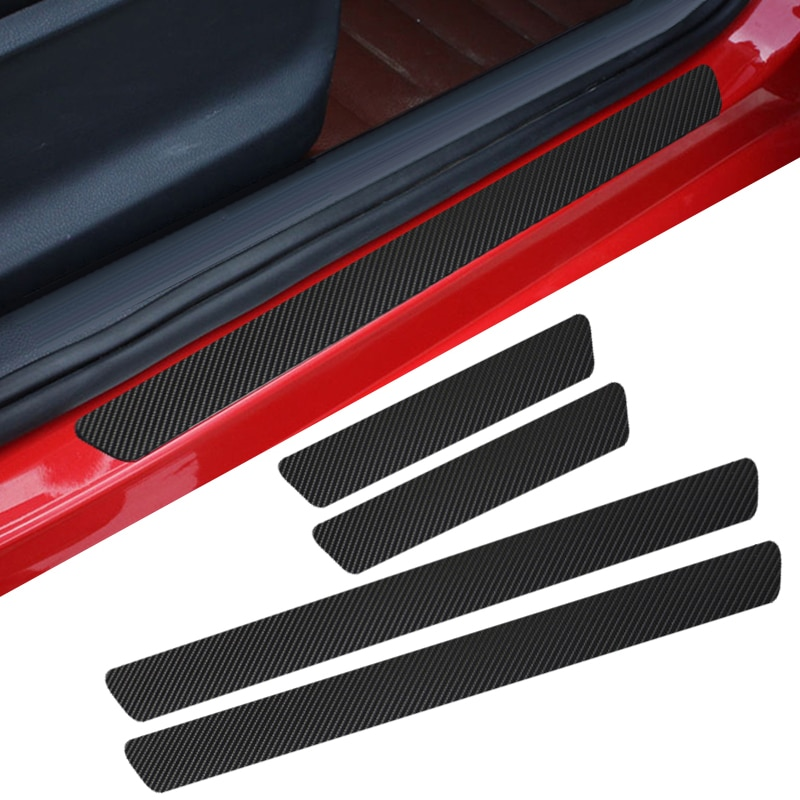 4pcs Door Carbon Fiber Car Scuff Plate sticker Vinyl Decal sticker for AUDI Ford focus Volvo Chevrolet fiat seat