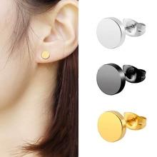 2pcs Fashion Stainless Steel Round Stud Earrings for Women Geometric Circle Black Simple Titanium Ea