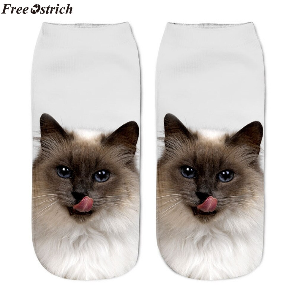 FREE OSTRICH Popular funny unisex female socks socks 3D cat print beautiful anklet socks casual cute