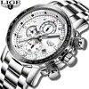 LIGE – montre de luxe pour hommes grande marque grand cadran en acier inoxydable décontracté étanche