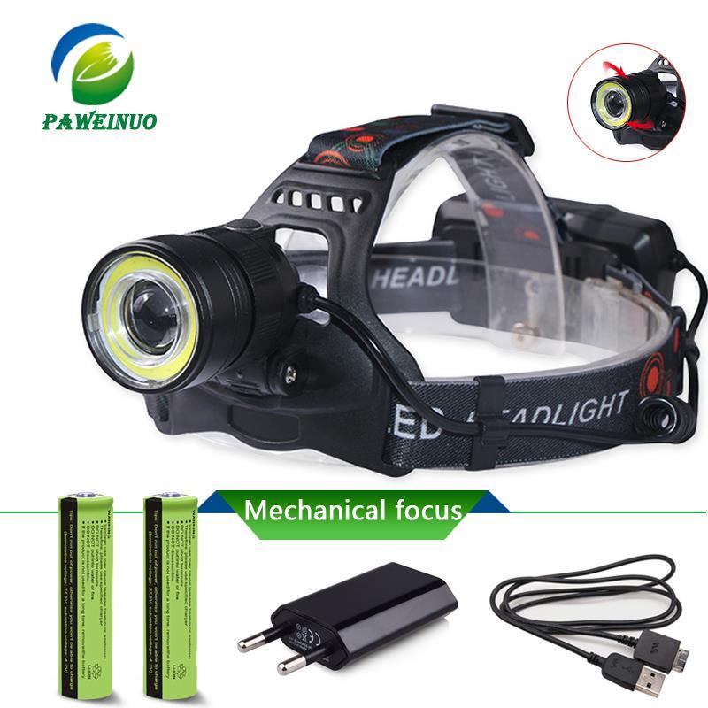De carga USB linterna faro mecánico foco led de zoom linterna impermeable lámpara de cabeza de la luz de la pesca recargable 18650
