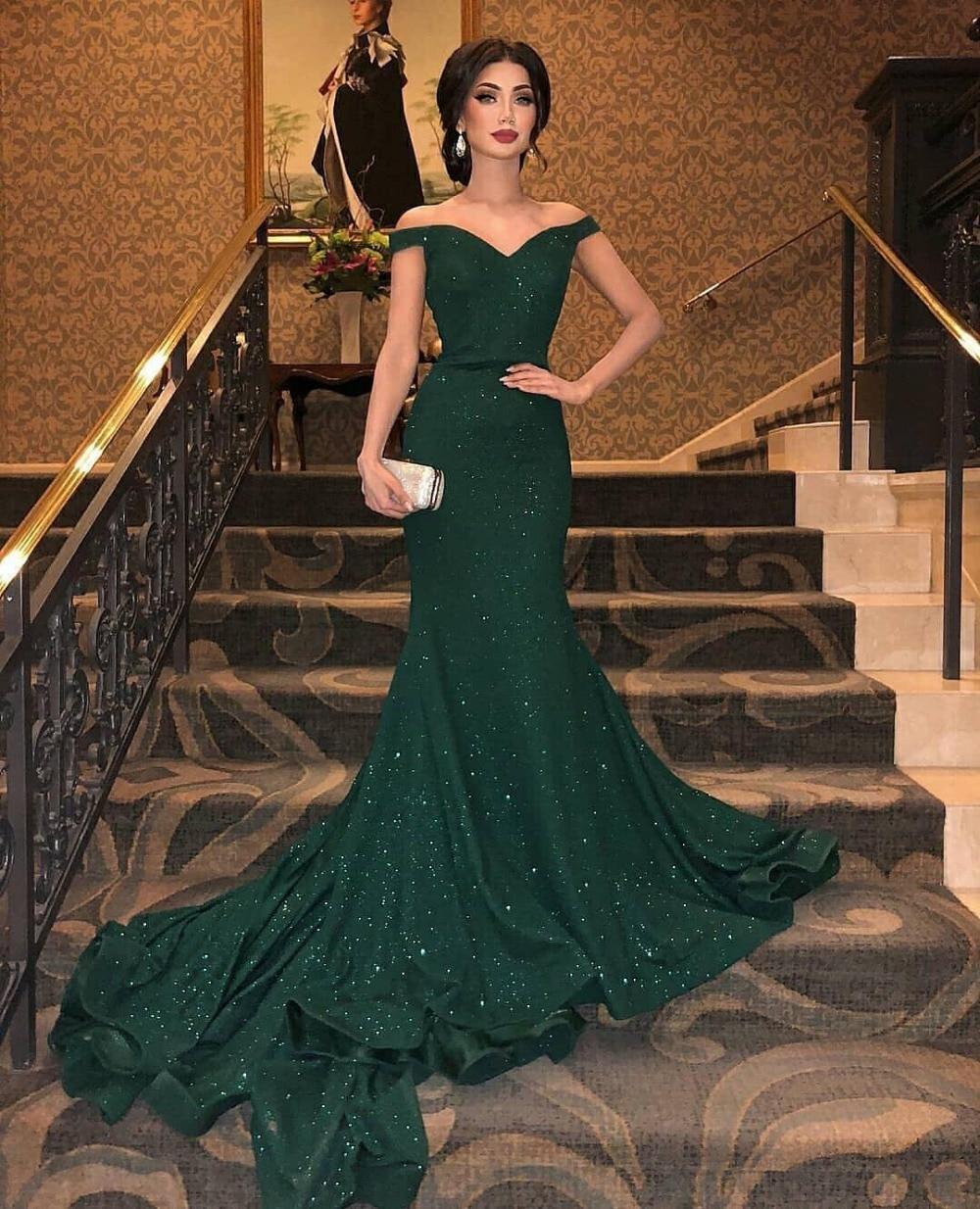 Vestidos De Fiesta verde oscuro vestido De noche largo 2019 fuera del hombro corte tren longitud del piso Vestidos De fiesta Formal