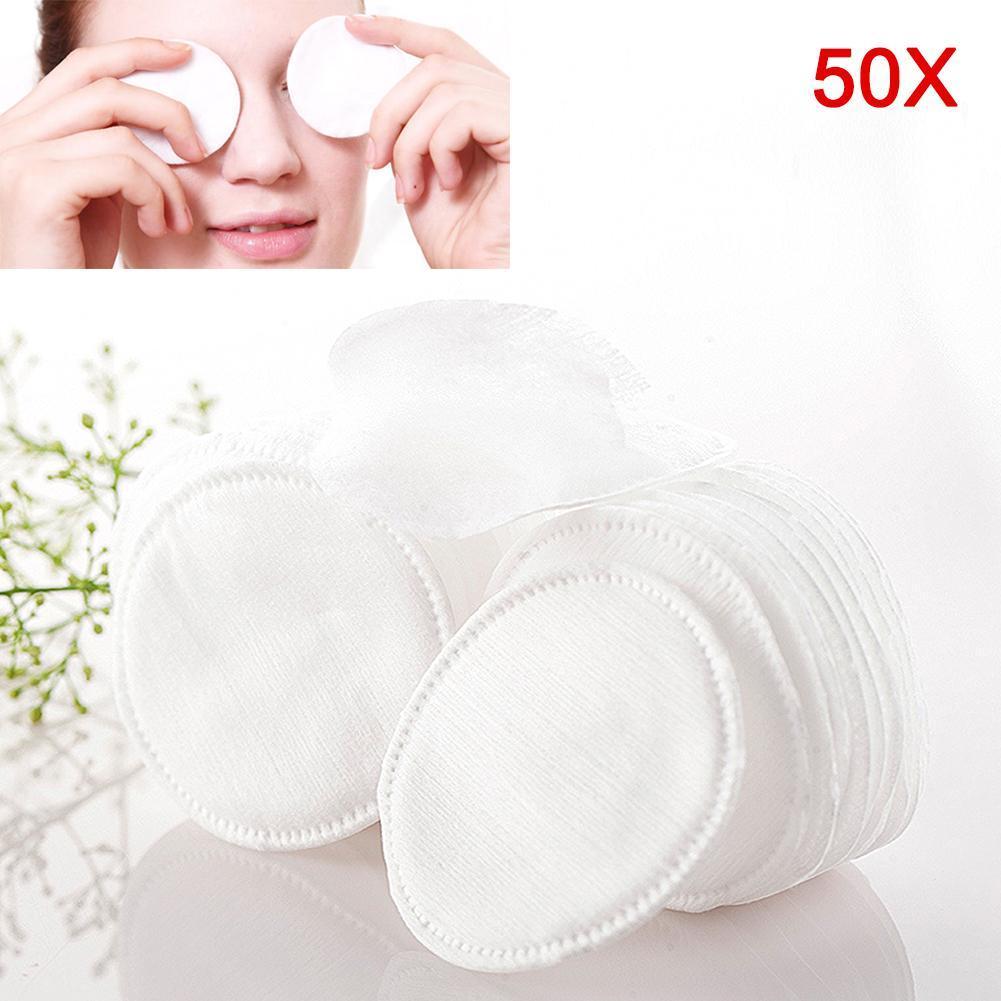 50/100 Uds almohadilla redonda de algodón Premium, almohadilla cosmética Hisopo para maquillaje, toallitas, limpieza facial, removedor de maquillaje, limpieza