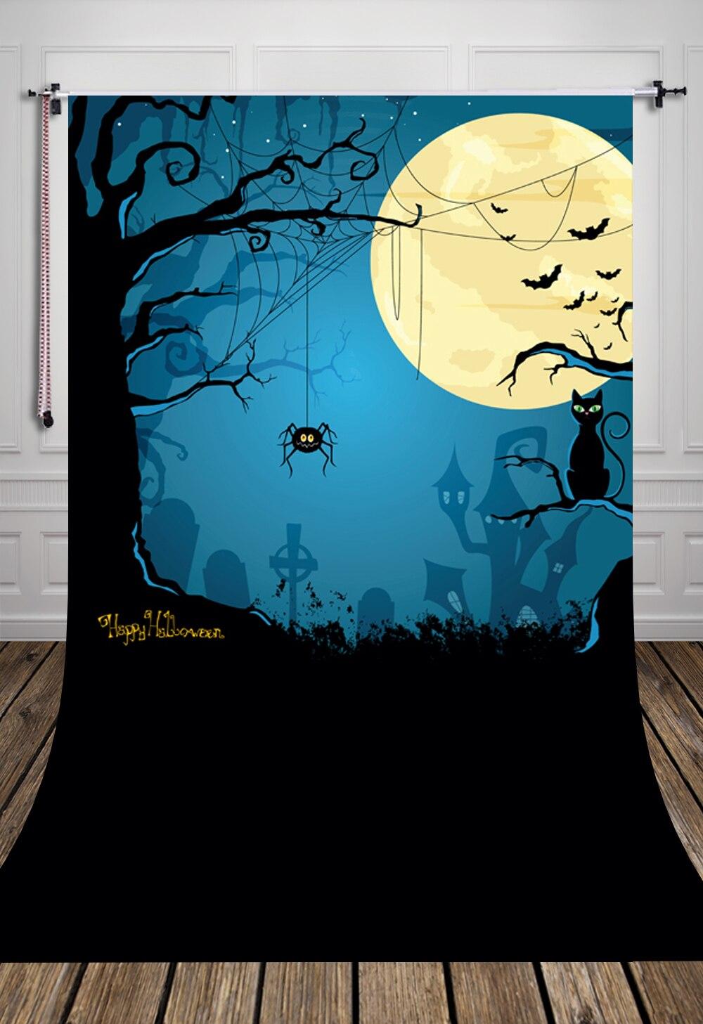 HUAYI feliz Halloween tela de arte para fondo recién nacido telón de fondo D-6904