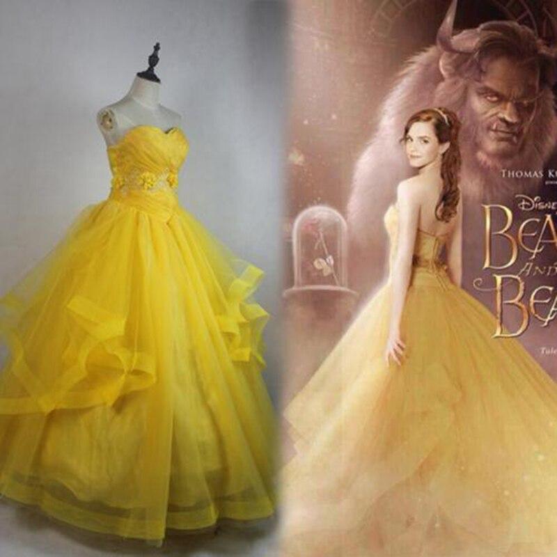 De-2020 mujeres película de La Bella y La Bestia amarillo tubo siguiendo Belle vestido de Cosplay adulto Halloween traje
