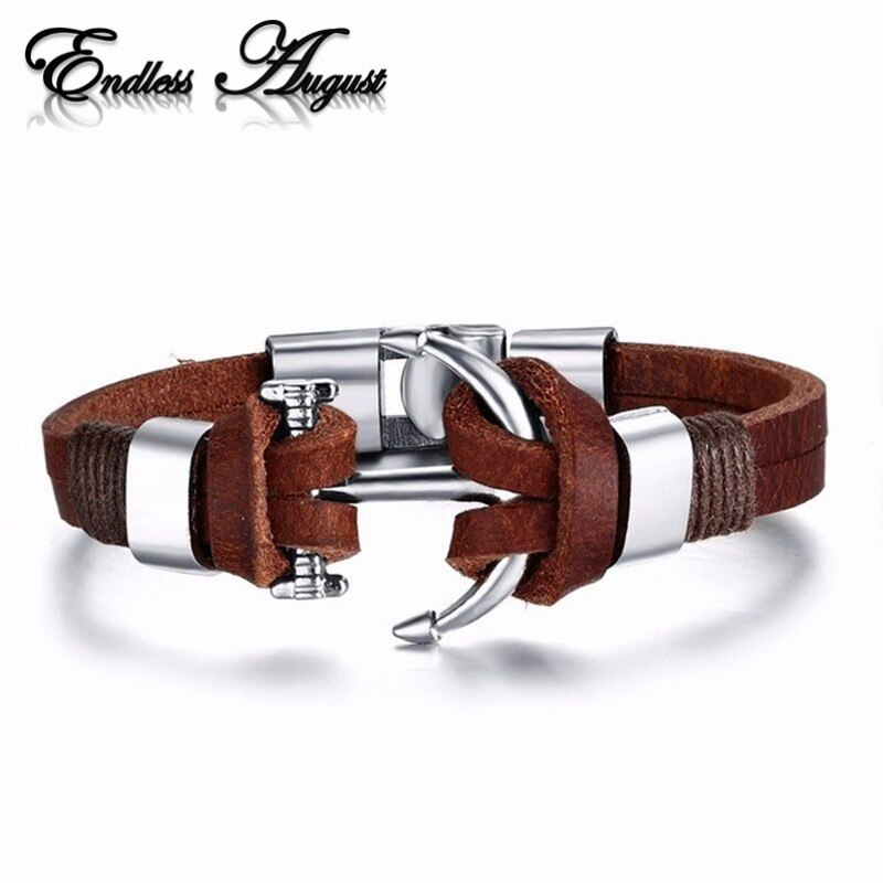 Nuevo brazalete de ancla de acero inoxidable de aleación de estilo pirata para hombres, pulsera de cuero de vaca genuino, brazaletes de joyería