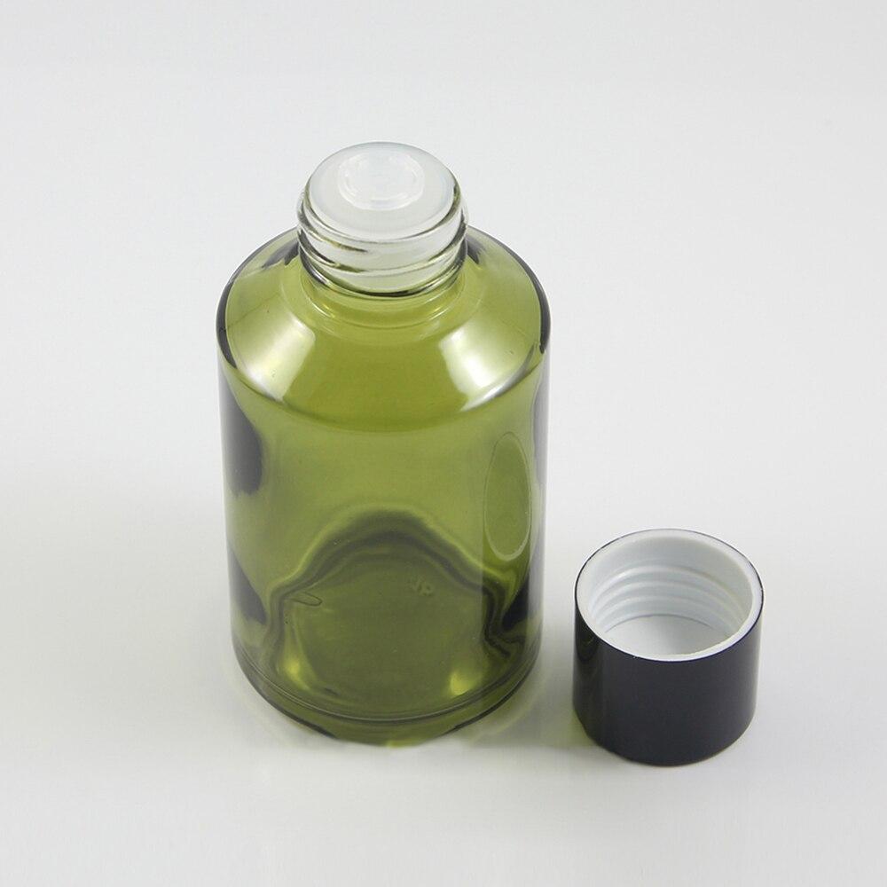 Botella de loción verde claro redonda de 125 ml con tapa de tornillo negro y reductor transparente, botella cosmética vacía de vidrio grande para crema líquida