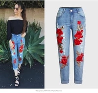 europeanameircan womens casual hole jeans fashion embroidered plus size xxxl denim pants