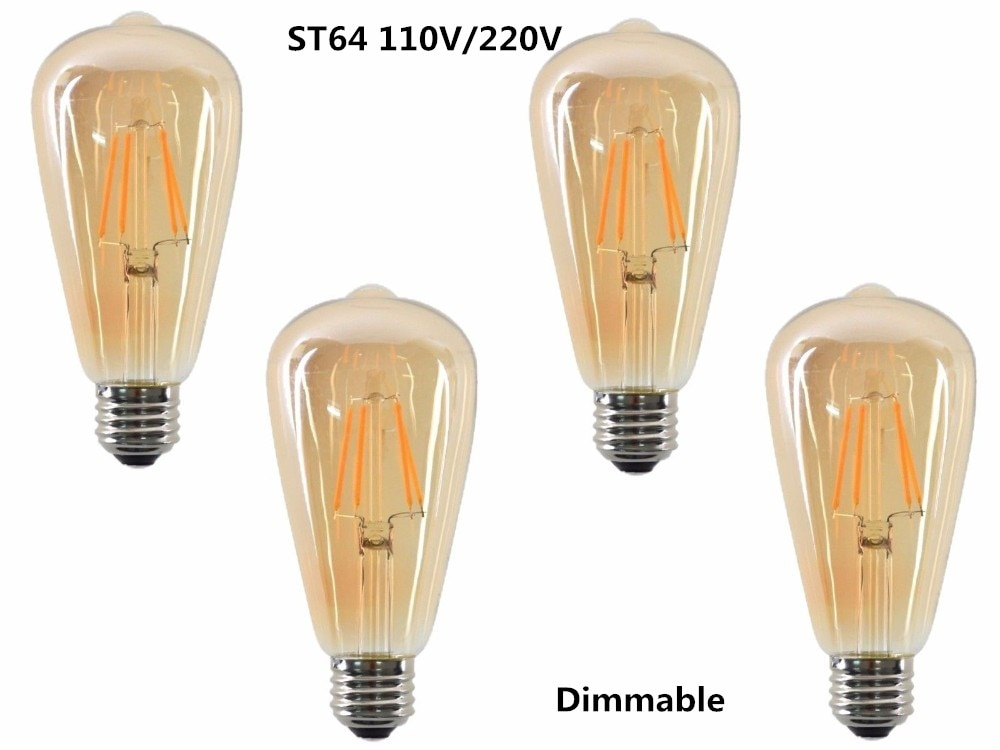 ST64 LED 2W 4W 6W 8W dimmable Gold Filament bulb E27 B22 Light 220V 110V Vintage Edison Bulb Lamp Re