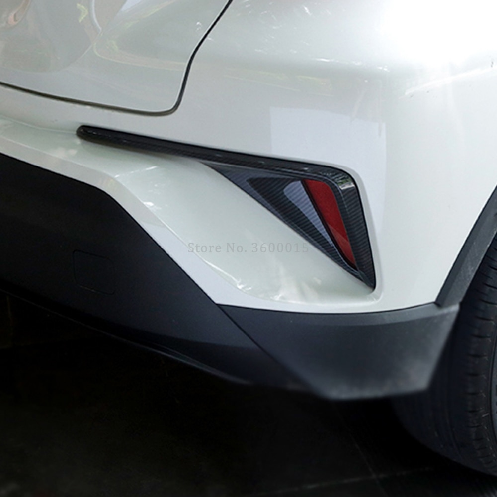 Para Toyota C-HR CHR 2016 2017 2018 accesorios exteriores ABS fibra de carbono parte trasera Foglamp cubierta embellecedora para faro antiniebla trasero moldura para luz