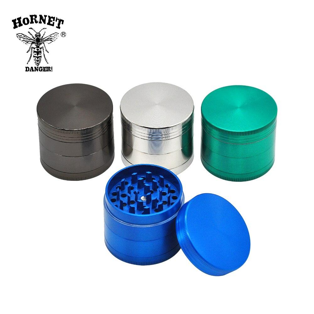 Molino de hierba de Metal HORNET de aleación de Zinc de 4 piezas de 50 MM con dientes de diamante, triturador de tabaco, molino de mano, trituradora