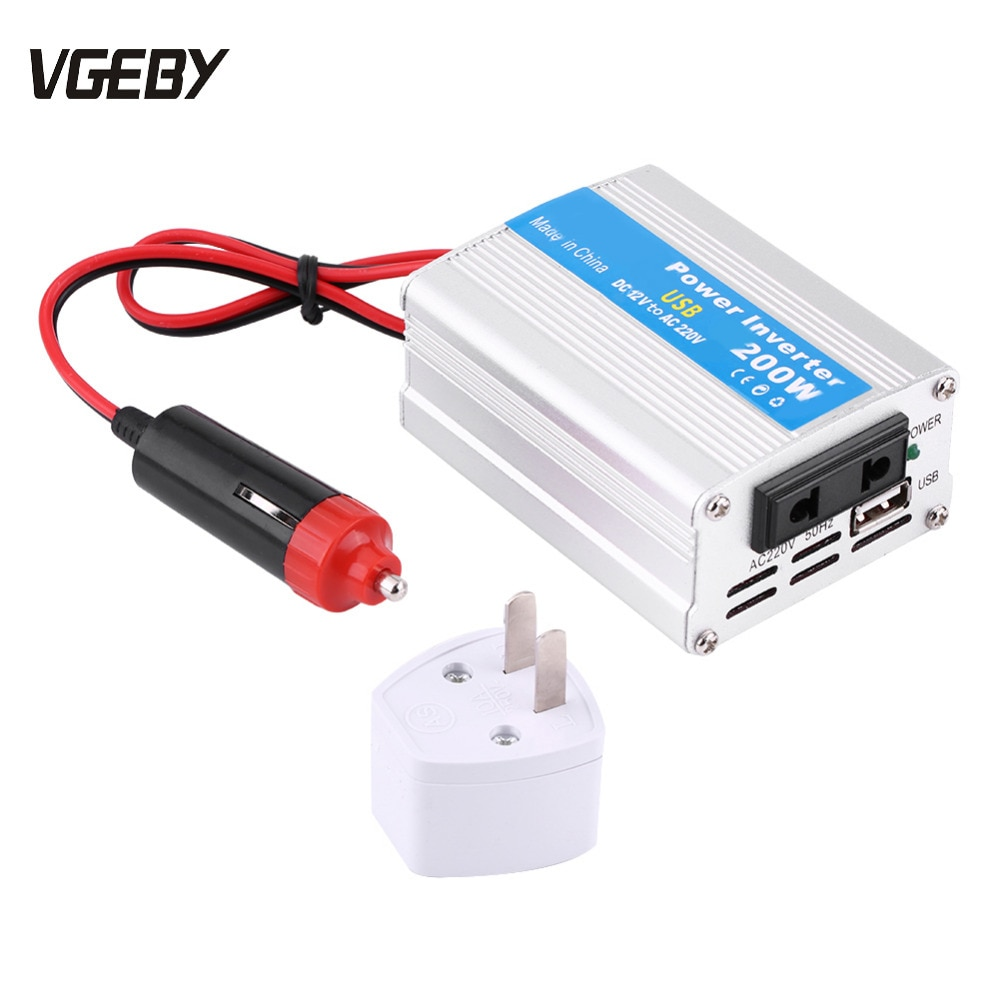 Nuevo inversor de corriente continua de 12V a CA 220V 200W, convertidor/inversor de potencia modificada, potencia de onda sinusoidal con cargador USB para coche