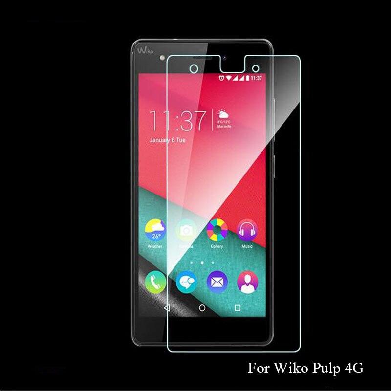 Película de cristal templado de 0,26mm frente transparente HD a prueba de explosiones LCD para Wiko Pulp 4G 5 pulgadas Protector de pantalla