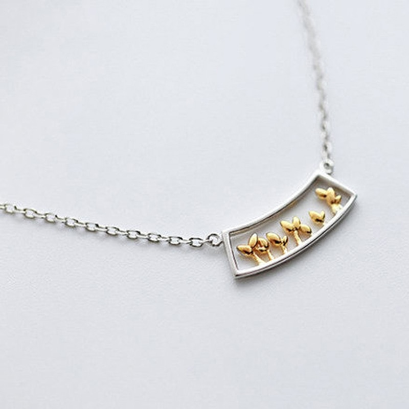 XIYANIKE de Plata de Ley 925 collar de mujer de plata dorada ventana planta hierba collar pasto fresco y dulce gargantilla cadena VNS8339