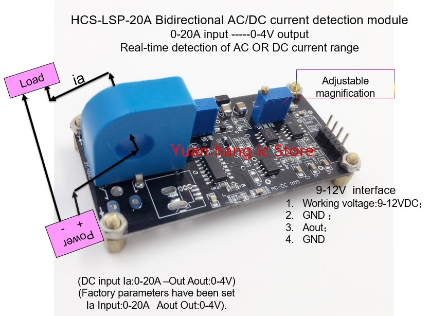 Módulo de detección de corriente AC/DC bidireccional de HCS-LSP-20A a entrada ------ Detección de salida de 0-4 V de CA o DC rango de corriente