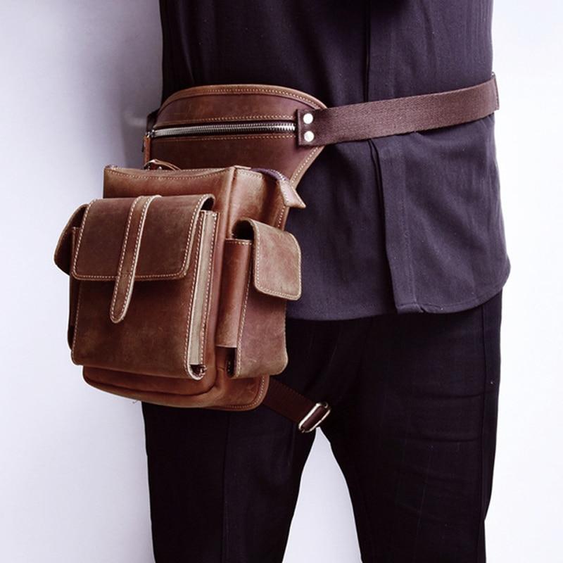 Men Cowhide Waist Bag Genuine Leather Travel Motorcycle Messenger Shoulder Bags Hip Belt Fanny Pack Thigh Drop Leg Bag for male