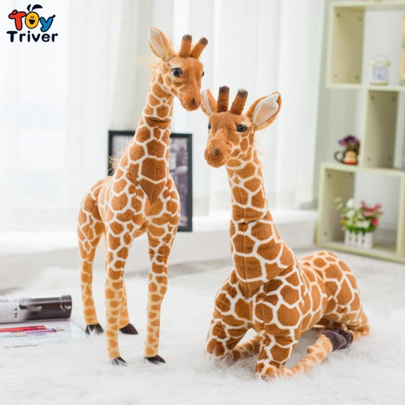 Gigante de la vida Real jirafa de peluche de juguete Triver peluche Animal muñeca simulación jirafa bebé niños cumpleaños regalo hogar tienda Decoración