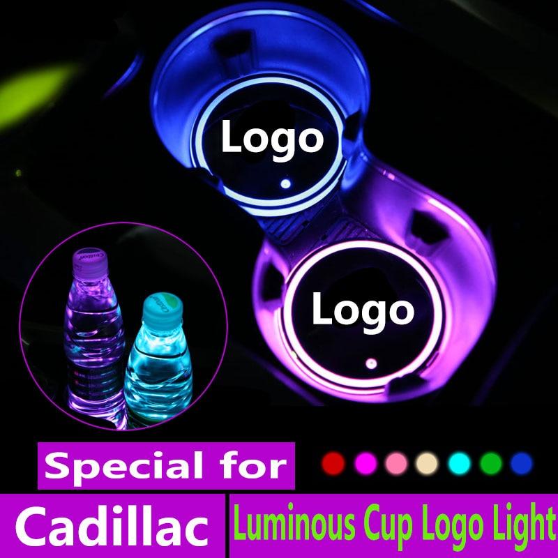 Xt4 xt5 2X Copo luzes Led Logotipo Do Carro Para Cadillac cts ats xts ct6 atsl Logo luz Luminosa Coaster Bebidas titulares de Acessórios