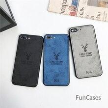 Tissu Vintage Cerf Pour iphone XS MAX XR X SE 5 5s 6s 7 8 Plus Couverture OnePlus 6 Coque Silicone + Cuir Peau Tissu Art Capa