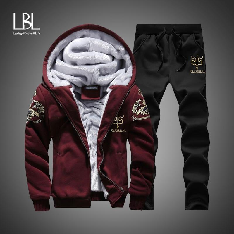 Winter Inner Fleece Hoodies Men New Casual Hooded Warm Sweatshirts Male Thicken Tracksuit 2PC Jacket