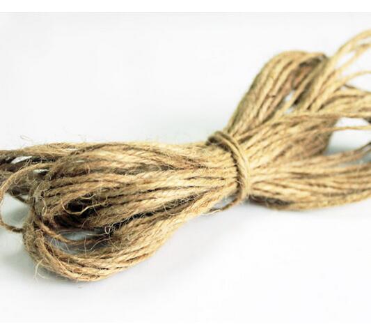 22 metros/lote 2mm cuerda de cáñamo natural DIY etiqueta colgar cuerda boda accesorios para el hogar cordel de yute decorativo cuerda de jardinería