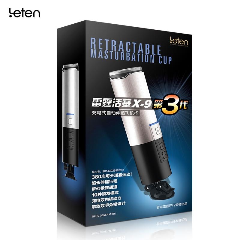 Masturbador automático eléctrico Leten X9 III para hombres, manos libres, Flex Spin, carga USB, pistón, copa de masturbación masculina, Juguetes sexuales para hombres