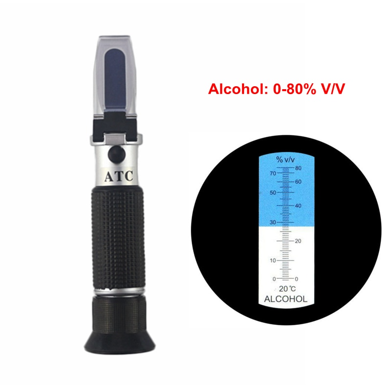 Refractómetro de Alcohol portátil probador de concentración de Alcohol 0-80% V/V refractómetro de licor alcoholímetro ATC medidor sin venta al minorista