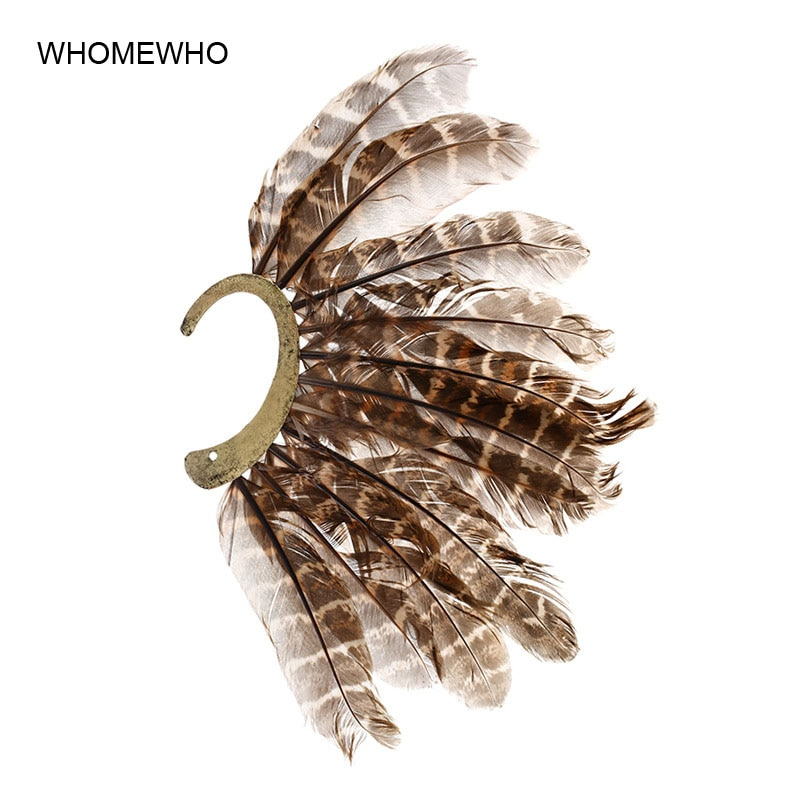 1Pc Bohemia Ethnic Pheasant Feather Indian Cuff Earrings Women Vintage Tribal Party Earcuff Oversized Gypsy Ear Jewelry