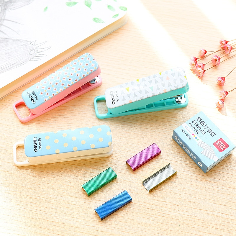 Kawaii Geometric manual stapler No. 10 color Staples set Mini grapadora papelaria Stationery office accessories school supplies