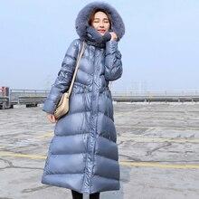 Réel naturel fourrure de renard col 2020 femmes hiver veste canard vers le bas Parka à capuche doudoune longue manteau Style coréen mince vêtements dextérieur