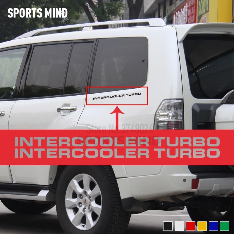2 Intercooler Turbo para Mitsubishi Pajero Shogun Montero lateral MK2 V20, accesorios, pegatinas para coche, decoración para automóviles