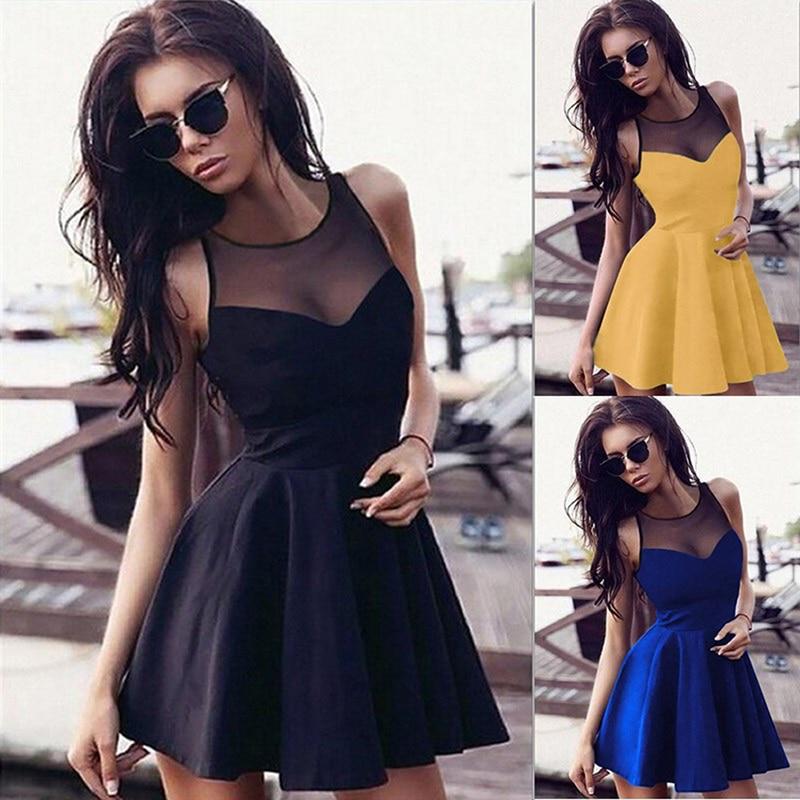 Gothic Casual Dress Summer Women Black A-Line Sleeveless Hollow Party Preppy Fashion Slim Mesh Vintage Goth Dress