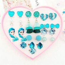 Disney Children's Princess Earrings Ring Love Gift Set Acrylic Flash Drill Fringe Ear Clips without Pierced Ears Frozen