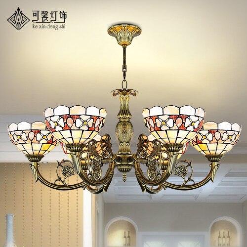 Lámpara colgante de concha de estilo Tiffany mediterráneo para dormitorio comedor E27 110-240V