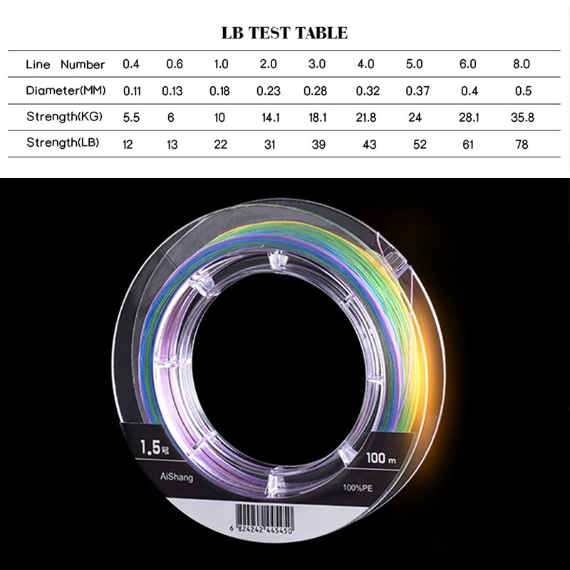 WDAIREN Super Braided Fishing Line LiuCai Series 8 Strands 100m PE 5 Colors One Color Per Meter Fishing Wire Rope Weaving enlarge