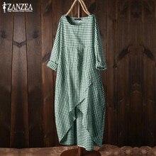 2019 ZANZEA Vintage Überprüfen Hemd Kleid frauen Sommerkleid Sommer Plaid Midi Vestidos Weibliche O-ansatz Beiläufige Partei Robe Plus Größe 5XL