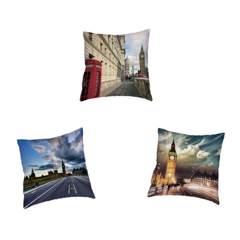 Street Scenery Cushion Cover London Building Big Ben Red Bus Red Telephone Road Square 45*45cm Seat Decoration Throw Pillow Case