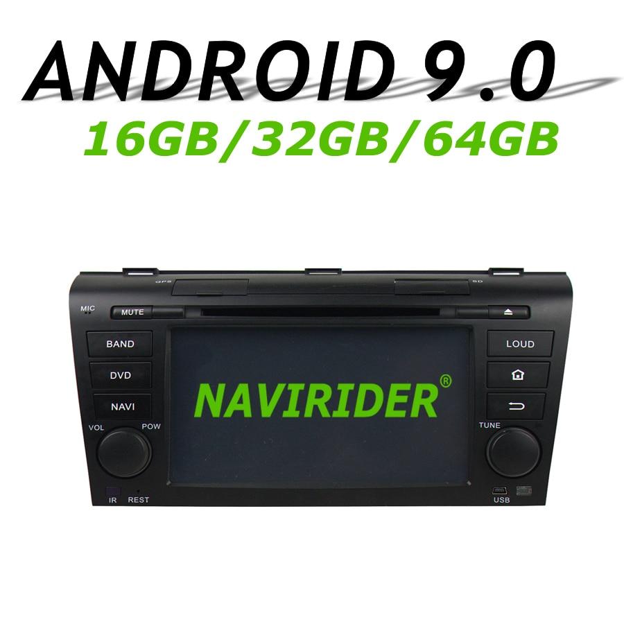 Navegação de navirider gps para mazda 3 mazda3 2004-2009 tela de toque dvd carro android 9.0 64gb rom rádio bluetooth player estéreo