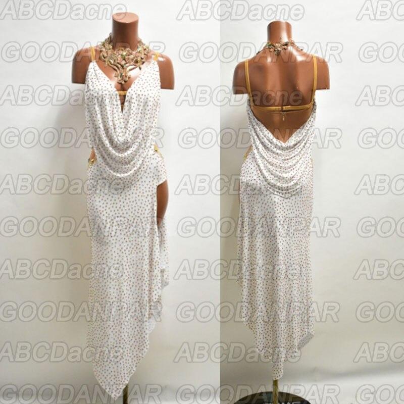 فستان رقص لاتيني طويل للنساء ، فستان بدون أكمام ، مثير ، رسن ، للسالسا تانجو ، صناعة يدوية