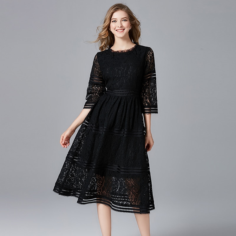 TAOYIZHUAI-فستان نسائي غير رسمي من الدانتيل 100% بوليستر ، رقبة دائرية ، خليط عادي ، طول الركبة ، مجموعة صيفية جديدة ، 11618