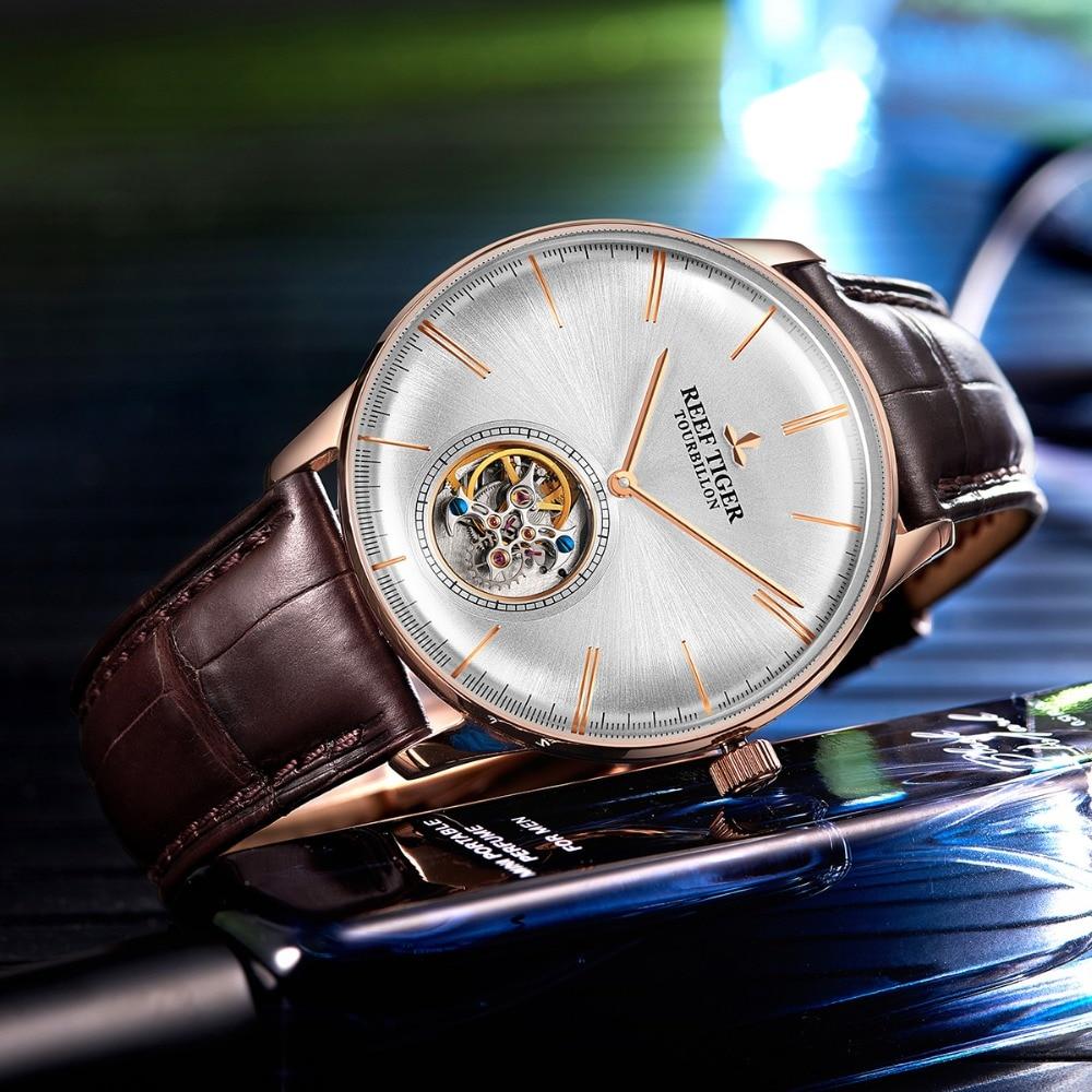 Reef Tiger/RT Top Brand Luxury Men Menchaincal Tourbillon Watch Sapphire Crystal Rose Gold Watch relogio masculino RGA1930