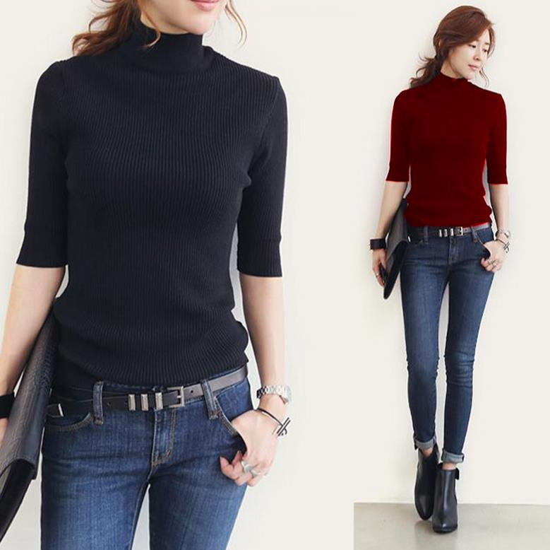 Primavera y verano suéter tejido mujer media manga cuello alto camisa poncho