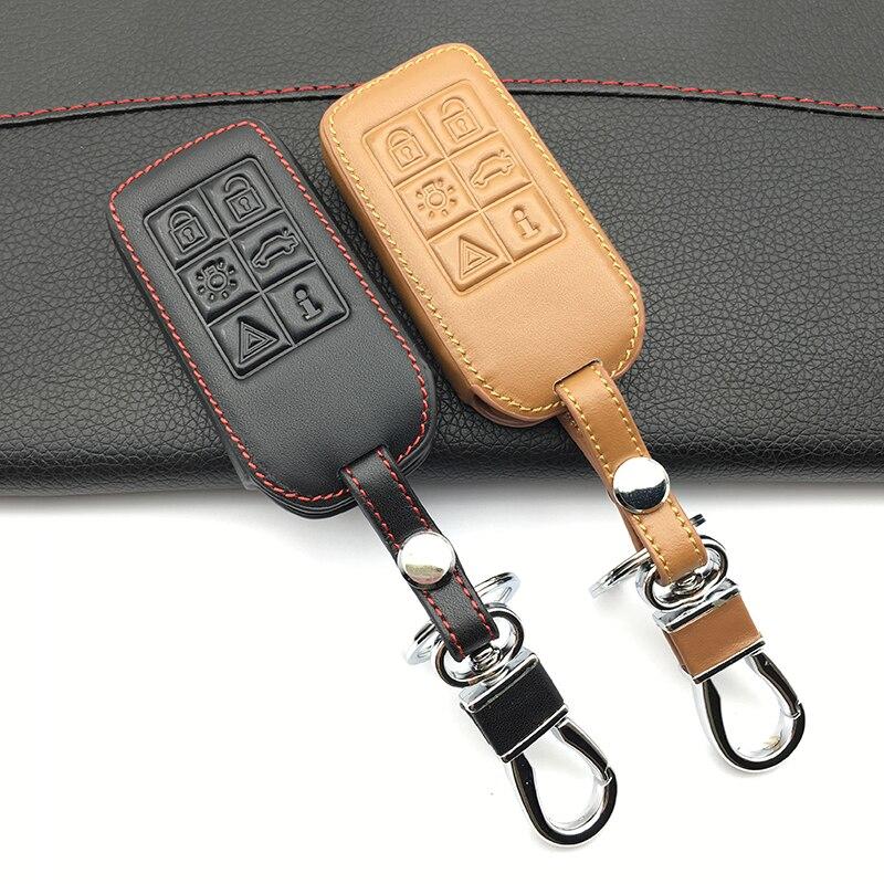 Moda hombres 100% cuero genuino 6 botones Smart Cae Key funda soporte piel para Volvo S60/S80/ entrada sin llave V60/XC60/XC70