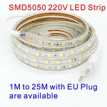 AC220V LED Strip Fita Luz Tira Ruban Bande 1m 5m 10m 15m 20m 25m SMD5050 60LEDs/m Waterproof LED Str