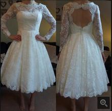 Blanc dentelle dos ouvert sexy Robes De Mariée Courte cheville longueur manches longues petite filles de mariage informel robes custom made